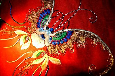 Gorgeous Antique Chinese Silk Embroidery Flowers Butterfly Mystical Beast 古董丝绸刺绣