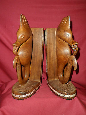 Vintage Carved Wooden Book Ends From The Solomon Islands