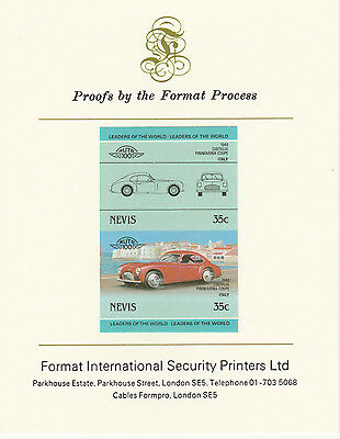 Nevis (2085) - 1985 Cars - Cistalia Coupe  imperf on Format Int PROOF  CARD