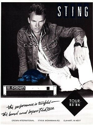 """1986 Singer Sting photo """"Two-Fold Performance"""" Crown Equipment print ad"""