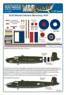 Kits World 1/32 B-25J Mitchell General Markings RAF & SEAC # 32050