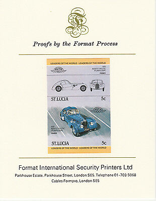 St Lucia (2092) - 1984 Cars #1 Bugatti 57SC  imperf on Format Int PROOF  CARD