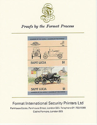 St Lucia (2093) - 1984 Cars #2 Ford Model T  imperf on Format Int PROOF  CARD