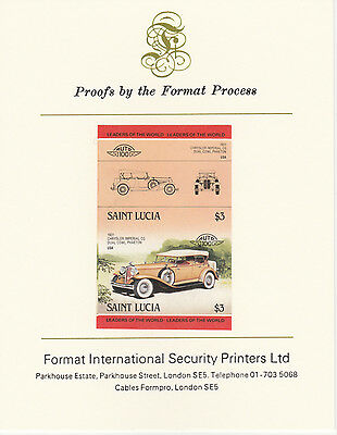St Lucia (2095) - 1984 Cars #2 Chrysler  imperf on Format Int PROOF  CARD