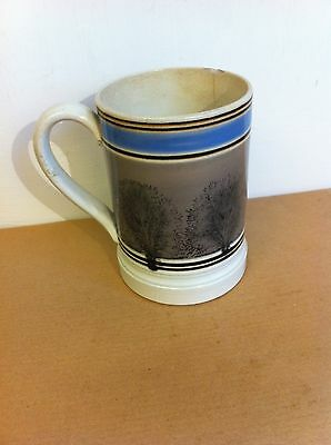 LOVELY DECORATIVE  ANTIQUE MOCHA WARE POTTERY PINT MUG 5 inches a/f