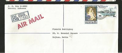 H168) Bahamas 1984 Registered Cover To Malta