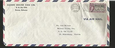 H170) Bahamas 1963 Cover To Usa- Rainbow Poultry Farm