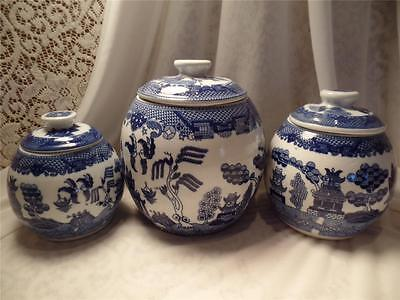 White & Blue Willow 6 Pc Set Round Canister Containers Asian Oriental