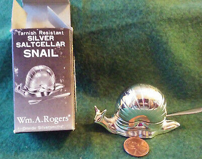 Wm. A. Rogers Silver Snail Open Salt Cellar Dip Dish, & Spoon