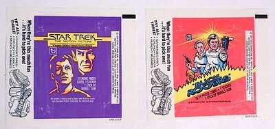 P104. LOT OF 2 STAR TREK and BUCK ROGERS Topps Chewing Gum WAX WRAPPER (1979) [