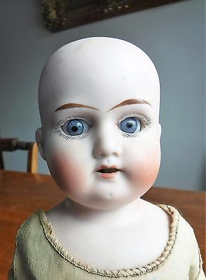 Antique Bisque Head Leather Kid Body Doll Marked 9/0