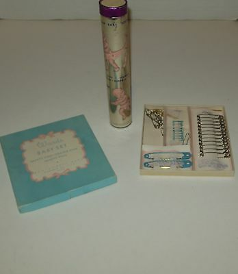 Vintage Baby Pins in Box Safety Cradle Vanity and Playtex Pants Empty Tube