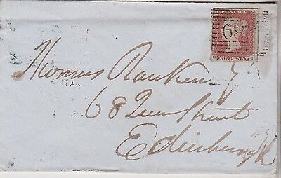 1850 QV PORTREE COVER WITH 1d RED IMPERF STAMP SENT TO EDINBURGH