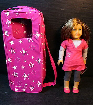 """American Girl Doll 18"""" With Pink Star Tunic & Leggings Outfit Star Case"""