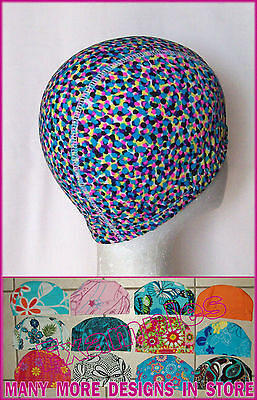 Kids 4 - 14 yrs LYCRA SWIMMING CAP - MULTICOLOUR DOTS DESIGN Childs Swim Hat NEW