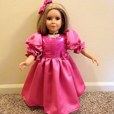 """BEAUTIFUL  PINK SEQUIN GOWN, NECKLACE  & HAIR BOW fits the 23"""" MY Twinn DOLLS"""