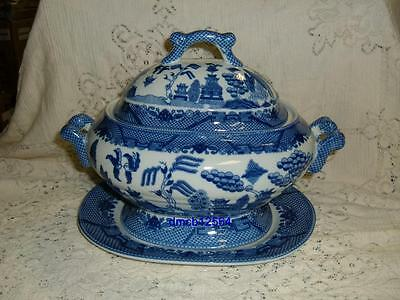 Blue Willow Oval Covered Tureen & Tray Asian Oriental Chinese Pagoda Japanese