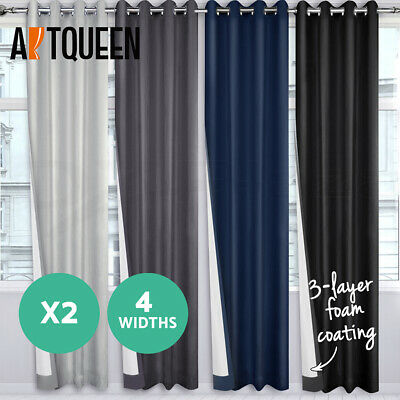 2X 100% Blockout Curtain Blackout Coated Eyelet Room Darkening TWO PANELS