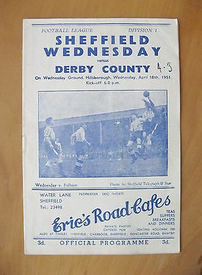 SHEFFIELD WEDNESDAY v DERBY COUNTY 1950/1951 *VG Condition Football Programme*