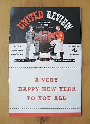 MANCHESTER UNITED v BOLTON WANDERERS 1951/1952 *VG Condition Football Programme*