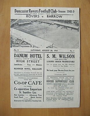 DONCASTER ROVERS v BARROW 1948/1949 *Excellent Condition Football Programme*
