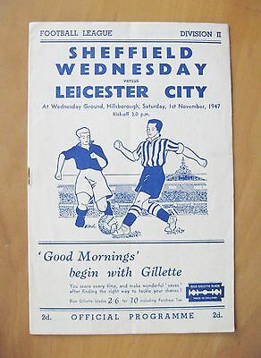 SHEFFIELD WEDNESDAY v LEICESTER CITY 1947/1948 Exc Condition Football Programme