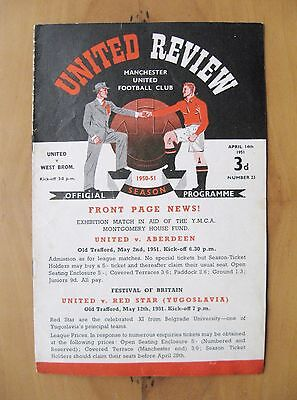 MANCHESTER UNITED v WEST BROMWICH ALBION 1950/1951 *VG Cond Football Programme*