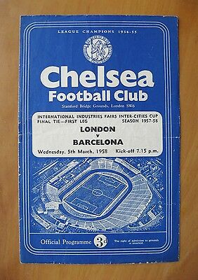 1958 Fairs Cup Final LONDON v BARCELONA @ CHELSEA *Good Cond Football Programme*