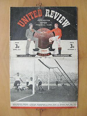 MANCHESTER UNITED v PRESTON NORTH END 1948/1949 *Good Cond Football Programme*