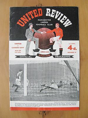 MANCHESTER UNITED v CARDIFF CITY 1953/1954 *VG Condition Football Programme*