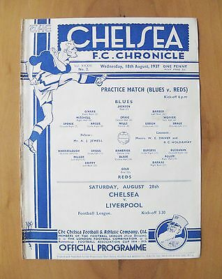 CHELSEA - Practice Match Friendly 1937/1938 (18th August) *Exc Cond Programme*