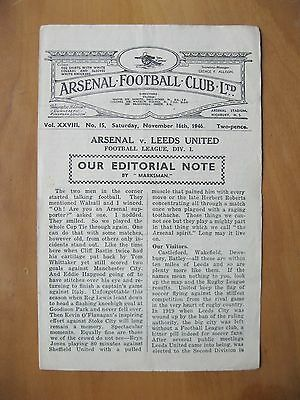 ARSENAL v LEEDS UNITED 1946/1947 *VG Condition Football Programme*