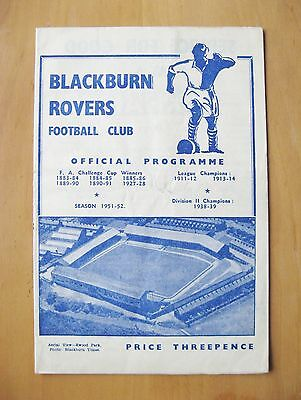 BLACKBURN ROVERS v LEICESTER CITY 1951/1952 *VG Condition Football Programme*