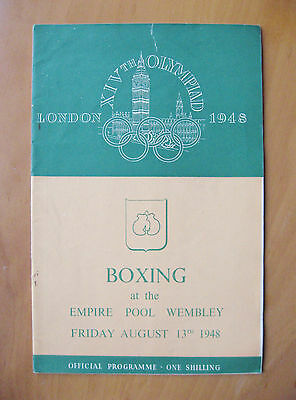 1948 London Olympics Boxing Finals Programmme 13th August *Good Condition*