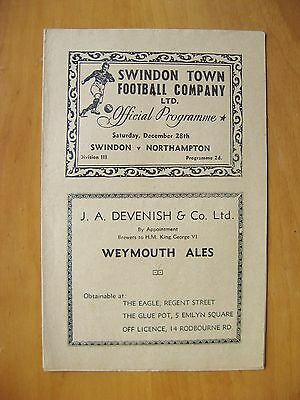 SWINDON TOWN v NORTHAMPTON TOWN 1946/1947 Excellent Condition Football Programme