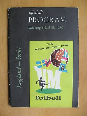 1958 World Cup ENGLAND v RUSSIA / USSR / SOVIET UNION (8th June) Good Condition