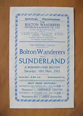 BOLTON WANDERERS v SUNDERLAND 1945/1946 *Excellent Condition Football Programme*