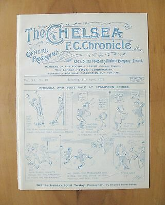CHELSEA v PORT VALE 1924/1925 *Excellent Condition Football Programme*