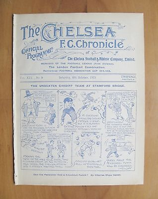 CHELSEA v CARDIFF CITY 1923/1924 *Excellent Condition Football Programme*