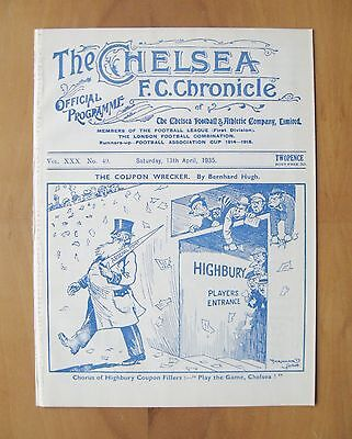 CHELSEA v PORTSMOUTH 1934/1935 *VG Condition Football Programme*