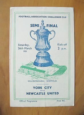 1955 FA Cup Semi-Final NEWCASTLE UNITED v YORK CITY Exc Cond Football Programme