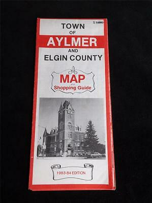 Town Of Aylmer Elgin County Map Shopping Guide Canada Road Travel Advertise 1983