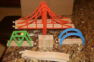 3 Bridges and track for bridges for wooden train set compatible with Brio/Thomas