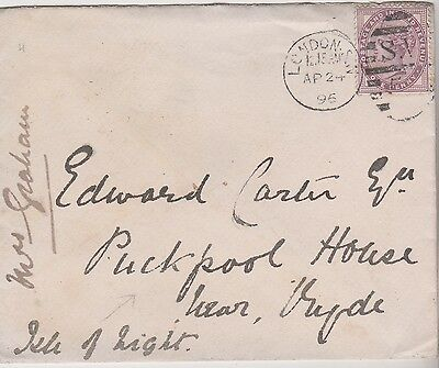 1896 QV LONDON COVER WITH 1d LILAC STAMP TO EDWARD CARTER RYDE ISLE OF WIGHT