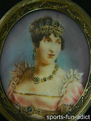 19th Century 1850's Hand Painted Miniature Portrait of Princess in Frame ANTIQUE
