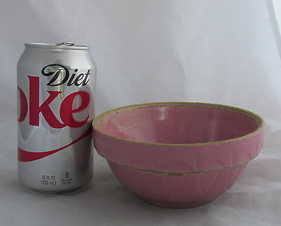 Antique Small Pink Stoneware Mixing Bowl Oven Ware #5 Made in USA