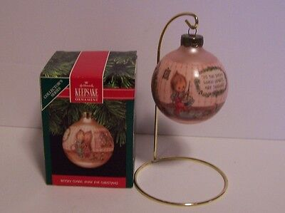 Betsey Clark Ornament Home for Christmas Hallmark Vintage Glass Hearts Sing