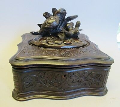 Large Antique German Black Forest Hand-Carved Box w/ Birds  c. 1900