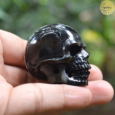 Hand Carved 40mm Human Skull Natural Buffalo Horn Carving Undrilled