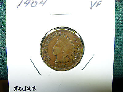 1904 1C BN Indian Cent VF   (FREE SHIPPING)